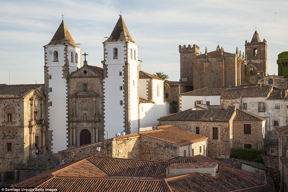 Nestled in the heart of old Spain is the medieval treasure, Extremadura, which has featured highly on the Lonely Planet's best picks and includes wonders like the old town of Caceres. Pictured is the San Francisco Javier church