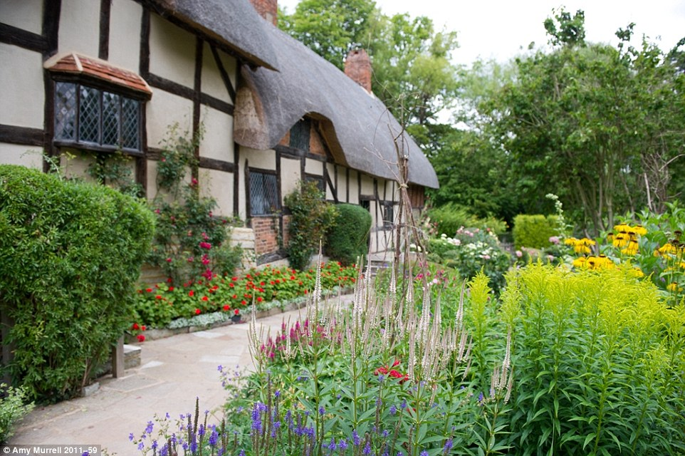 Stratford-upon-Avon, the birthplace of Shakespeare is one of Warwickshire's top highlights. Pictured is  Anne Hathaway's Cottage in Shottery, a mile away from Stratford-upon-Avon, it is where the wife of William Shakespeare lived as a child