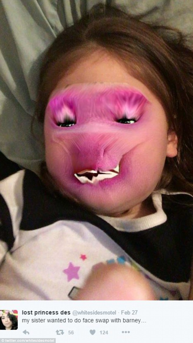 One little girl got a purple face when she did a face swap with Barney the dinosaur