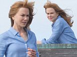 Picture Shows: Nicole Kidman  May 22, 2016    Actress Nicole Kidman films 'Big Little Lies' in Monterey, California. She appeared to be on top of a building, or behind a fence.  She was in full glam and wore a blue top while they filmed.    Exclusive All Rounder  UK RIGHTS ONLY    Pictures by : FameFlynet UK © 2016  Tel : +44 (0)20 3551 5049  Email : info@fameflynet.uk.com