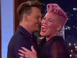 24 May 2016 - Los Angeles - USA  **** STRICTLY NOT AVAILABLE FOR USA ***  Johnny Depp smooches Jimmy Kimmel before making Pink blush on Jimmy Kimmel Live. Depp, who was on the show to promote his new movie Alice: Through The Looking Glass, grabbed Kimmel as he walked out on stage. Kimmel gamely puckered up and Depp went in for the kiss. Depp then spent some time chatting to Kimmel about the movie as well as the video he made with wife Amber Heard over them smuggling their teacup Yorkie dogs into Australia. Later in thes show Kimmel was chatting to his second guest Pink when she revealed she had a huge crush on Depp and 'dodged' meeting him backstage because she would get so flustered. Depp then surprised the singer - who was on the show to promote her new song from the Alice movie - and came out and gave her a huge hug. He kissed Kimmel again and Kimmel tried to get him to kiss Pink but she was too embarassed and claimed her husband Carey Hart would 'kill me' if she locked lips with t