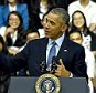 US President Barack Obama (C) speaks at a Young Southeast Asian Leaders Initiative town hall event in Ho Chi Minh City on May 25, 2016. Obama fielded questions on May 25 on everything from rap and weed smoking to leadership and his good looks at a lively town hall-style meeting with young Vietnamese, who say the US leader is a far cry from their staid Communist rulers. / AFP PHOTO / CHRISTOPHE ARCHAMBAULTCHRISTOPHE ARCHAMBAULT/AFP/Getty Images