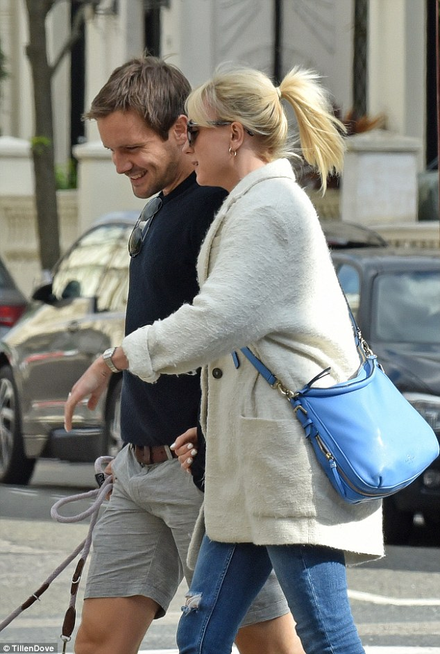 Jack the lad: It certainly looked like she made Jack happy, with the handsome actor smiling as she spoke to him while linking arms