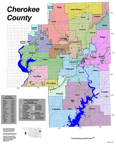 Map of School Districts in Cherokee County