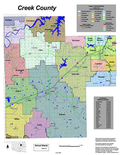Map of School Districts in Creek County