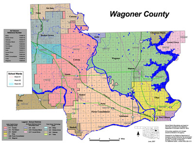 Map of School Districts in Wagoner County