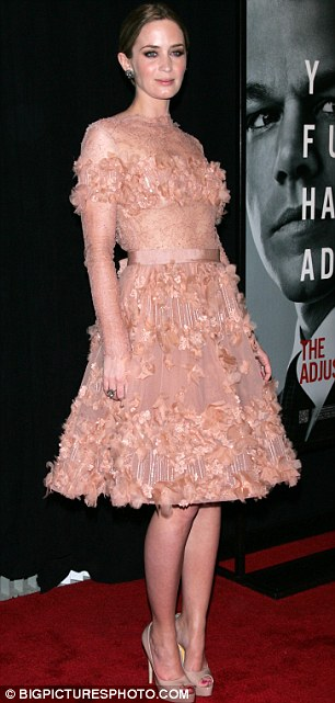 Pink lady: Emily Blunt showed off a stunning frilly nude number at the New York premiere of The Adjustment Bureau tonight