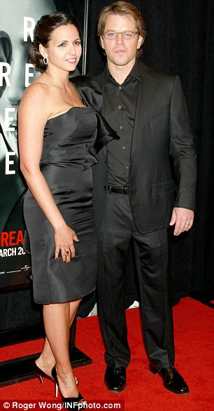 Happy couple: Matt Damon and wife Luciana stick to black tie at the premiere of the crime thriller