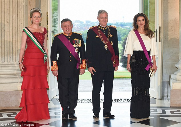 The royals wrap up their busy day with a gala dinners at theLaeken Palace in Brussels