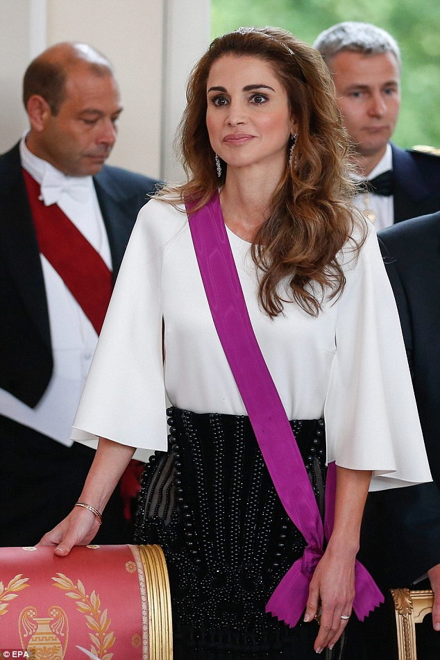 Queen Rania dazzled in a bead-encrusted, high-waisted black ruffled skirt from Balmain's Fall 2016 collection