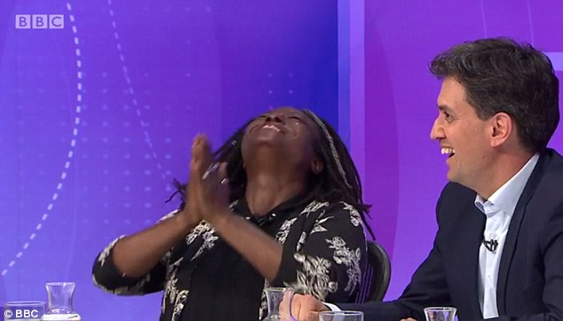Funny mistake: Ms Mitchell's errorcaused her to laugh hysterically and put her hands to her face both times