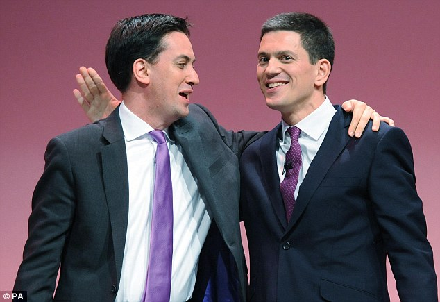 Siblings: Former Labour foreign secretary David Miliband (right) famously quit British politics after losing to his brother Ed (left) in the party's leadership election in 2010