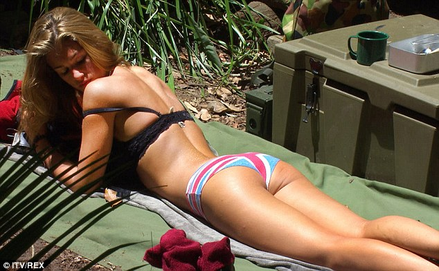 Check it out: Amy Willerton sunbathes in her underwear rather than bikini, sporting patriotic pants
