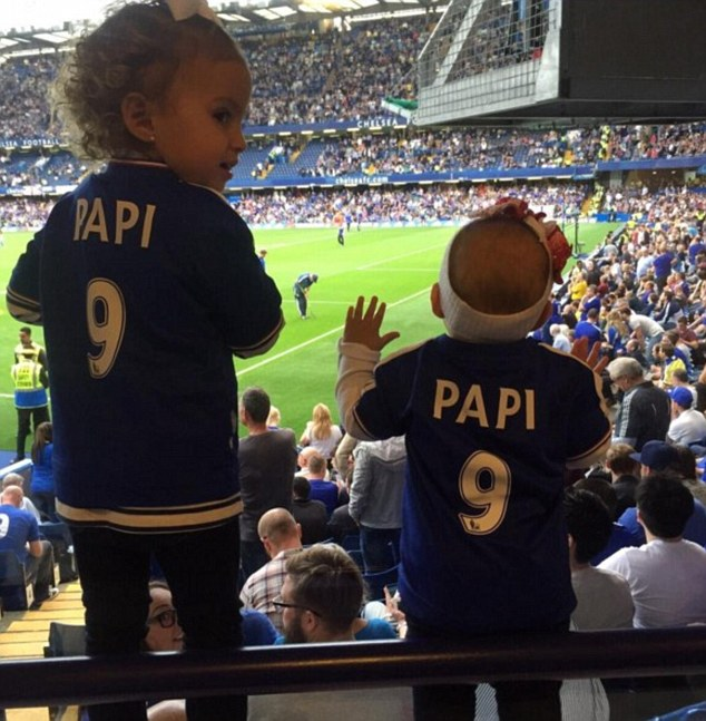 His number one fans: The footballer and his wife regularly share cute Instagram snaps of their two girls