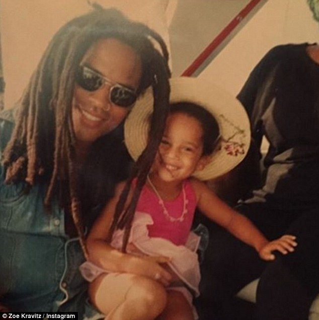 Proud daughter: She celebrate her famous father Lenny's 51st birthday on Tuesday with an adorable throwback snap of the pair of them