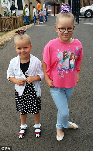 Sisters Katrina and Karlina Raiba, aged five and eight, were left paralysed