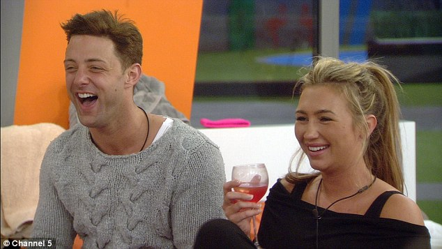 Getting close: Former TOWIE star, Lauren Goodger, seemed more than happy to lock lips with the hunk on Friday night¿s episode