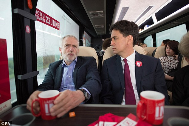 Jeremy Corbyn on the EU referendum campaign trail with former Labour leader Ed Miliband today