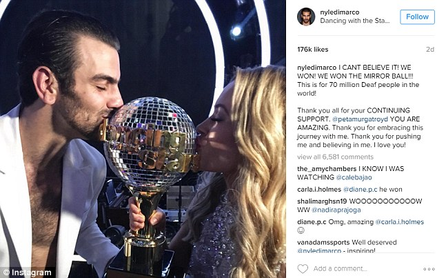 Proud moment: Taking to Instagram following his triumphant win, Nyle wrote: 'I CANT BELIEVE IT! WE WON! WE WON THE MIRROR BALL!!! This is for 70 million Deaf people in the world!'