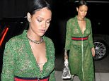 New York, NY - Rihanna is accompanied by security as she heads to a hotel in the East Village. The 'Work' singer had a slight wardrobe malfunction in a zip up green lace dress with matching lace up boots and a silver bag. AKM-GSI         May 25, 2016 To License These Photos, Please Contact : Steve Ginsburg (310) 505-8447 (323) 423-9397 steve@akmgsi.com sales@akmgsi.com or Maria Buda (917) 242-1505 mbuda@akmgsi.com ginsburgspalyinc@gmail.com