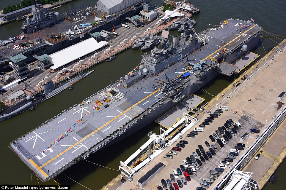 The stunning aerial pictures show the sheer scale of US Navy aircraft carriers, such as the USS Bataan which is in town for Fleet Week