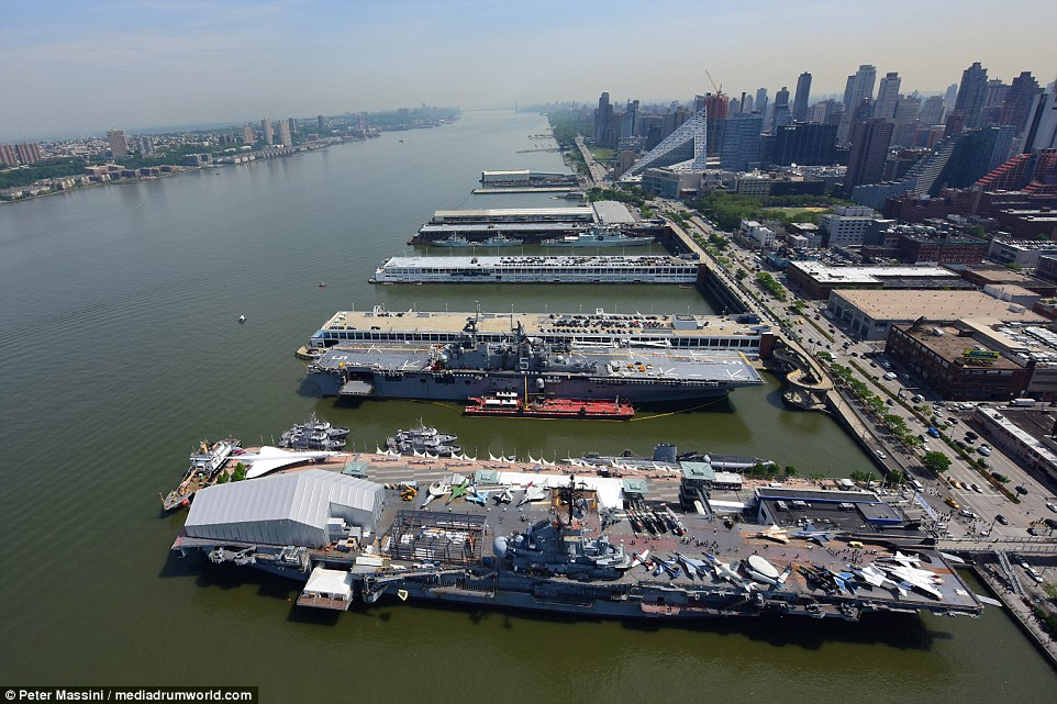 More than 4,500 sailors and Marines are in New York and have been seen meeting locals and tourists near the display and at attractions such as Times Square