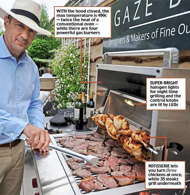 The new 'A la Carte Grill Station', from upmarket garden furniture firm Gaze Burvill, is being aimed at A-listers ahead of sizzling barbecue temperatures forecast for this Bank Holiday weekend