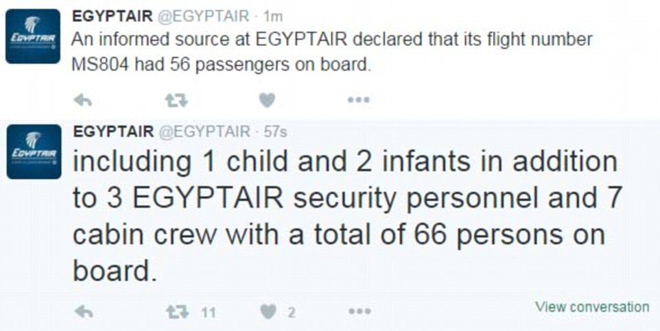The airline then tweeted that there were 56 passengers on board and 10 crew members