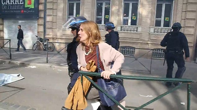 The horrifying incident in Toulouse on May 26 shows the lady crossing a pavement before she is attacked