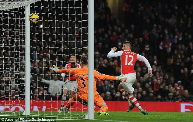 Giroud (right) then finished a neat passing move from Wenger's side to score his second of the game