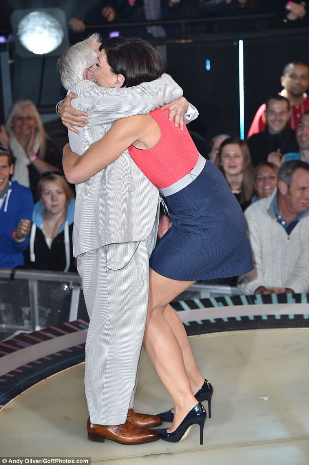 Give us a hug! Host Emma Willis welcomed the Will & Grace star with a big cuddle