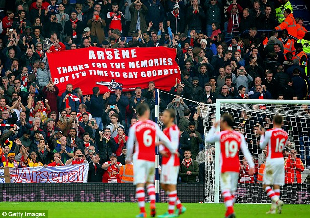 Arsenal supporters held up a banner calling for Wenger to leave after the 1-0 win at West Brom in November