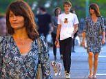 NEW YORK, NY - MAY 25:  Helena Christensen and her son Mingus Reedus are seen out with their dog Kuma on May 25, 2016 in New York City.  (Photo by Robert Kamau/GC Images)