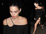 Kendall Jenner returning to her hotel wearing a stunning black dress\n26 May 2016.\nPlease byline: Will/Vantagenews.com