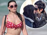 *** UK ONLY *** *** MAIL ONLINE OUT ***146322, Nick Grimshaw and Daisy Lowe wear matching polka dots to the beach in Miami. British model Daisy wore a pink and red polka dot bikini for a dip in the ocean before meeting up with her friend, X Factor UK judge and radio host Nick Grimshaw. Nick wore his usual quirky fashion, a black and red polka dot pajama top and peacock feather shorts. Miami, Florida - Tuesday December 29, 2015. \\n\\nPHOTOGRAPH BY Pacific Coast News / Barcroft Media\\n\\nUK Office, London.\\nT +44 845 370 2233\\nW www.barcroftmedia.com\\n\\nUSA Office, New York City.\\nT +1 212 796 2458\\nW www.barcroftusa.com\\n\\nIndian Office, Delhi.\\nT +91 11 4053 2429\\nW www.barcroftindia.com
