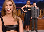 "NEW YORK, NY - MAY 25:  Karlie Kloss with host Jimmy Fallon during a segment on ""The Tonight Show Starring Jimmy Fallon""""at NBC Studios on May 26, 2016 in New York City.  (Photo by Jamie McCarthy/Getty Images)"