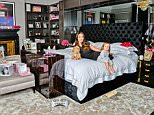 Tamara Ecclestone  'My Haven' - Bedroom of her London home   27.4.2016 Memory Box Mug for hot chocolate Slippers and Pyjamas Photos with Dad Photo with Sister Petra &  Mum Slavica Butterfly table name places for her wedding to Jay Rutland Andy Warhol Painting Dog bowl from her sister  Dog 'Teddy' Daughter Sophia