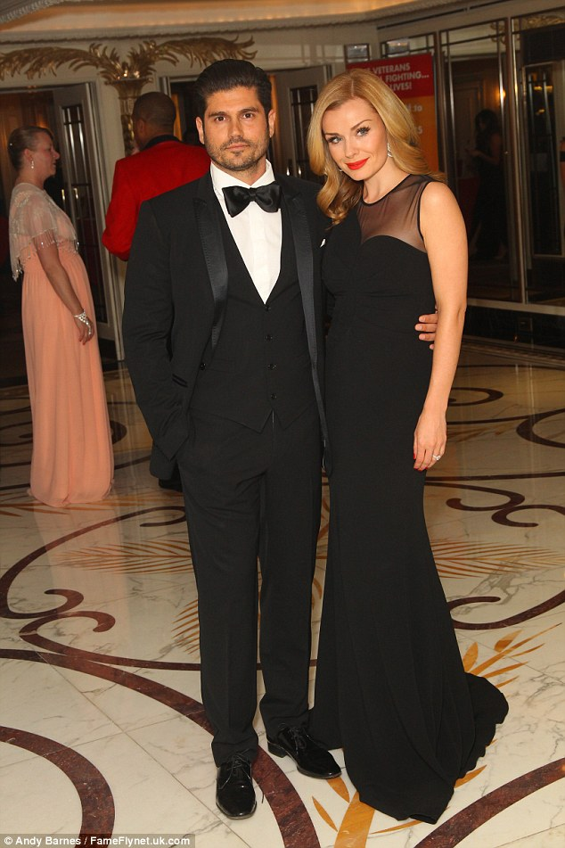 Date night: Katherine Jenkins looked glam as she arrived with husbandAndrew Levitas
