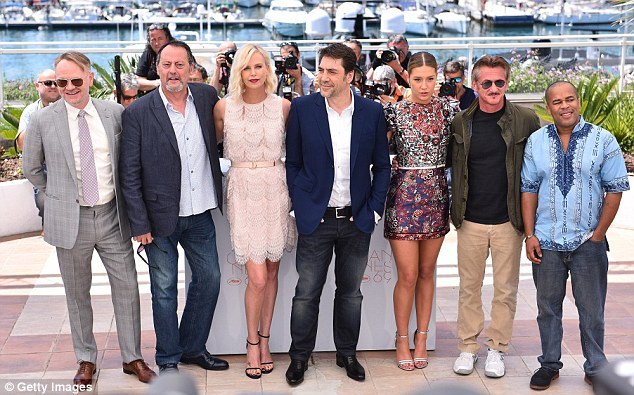 Penn (second to right) and Theron (third from left) seemed to keep their distance during the Cannes photocall, with actors Javier Bardem  and Adele Exarchopoulos wedged between them