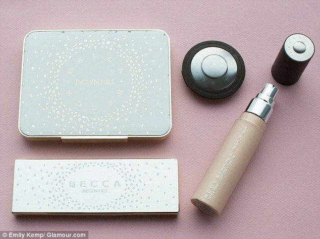 Cheers! The full four-piece Becca Cosmetics Jaclyn Hill Champagne Collection in all it's glow-y glory