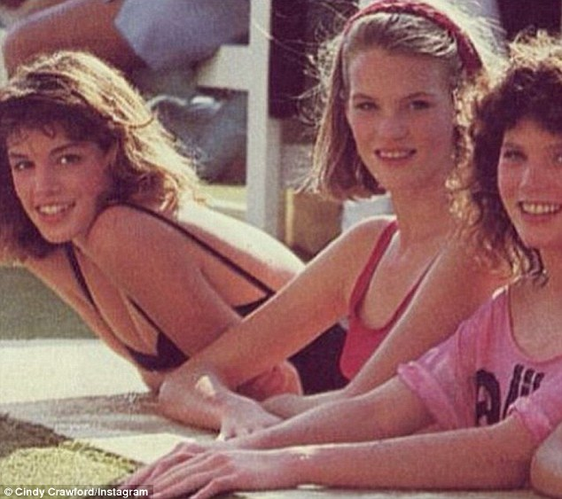 Natural beauty: Cindy Crawford shared this photo on Instagram on Thursday showing her, left, as a 17-year-old taking part in a modeling competition in Acapulco in 1983