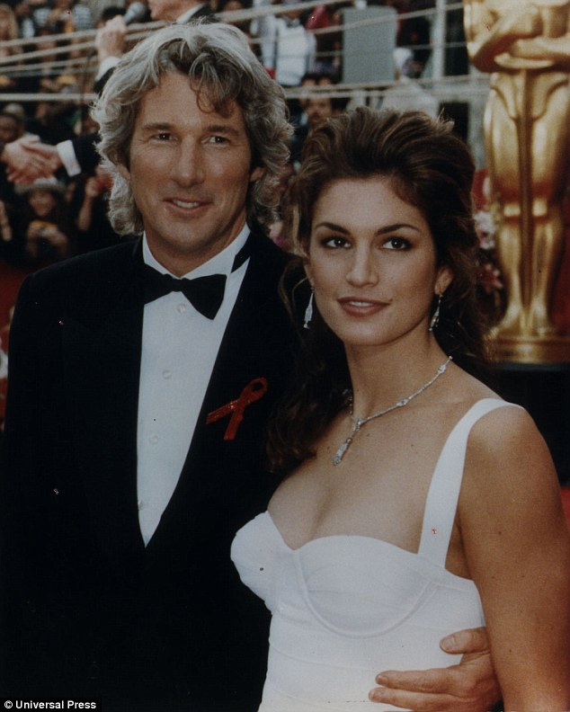 Fame: One of the original supermodels, Cindy married Hollywood star Richard Gere in 1991. The couple, pictured at the Oscars in 1993, divorced in 1995