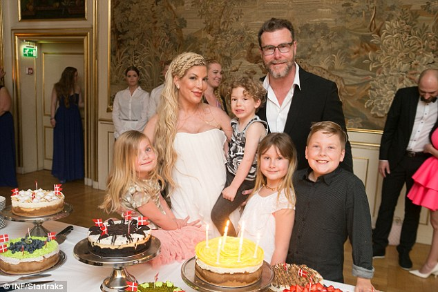 Happy Birthday to me: Tori Spelling marked turning 43 at NaesbyHolm Castle in Denmark with her family and an assortment of fancy desserts