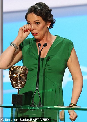 Moved: The actress could barely get her words out when she accepted the award