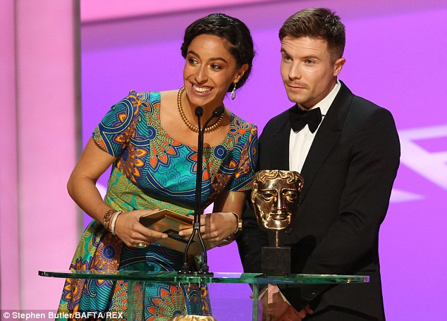 And the award goes to: Spanish actress Oona Chaplin, the granddaughter of silent film legend Charlie Chaplin, and Joe Dempsie present an award on Sunday evening