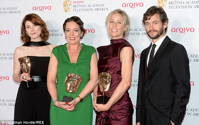 Best Drama: Jodie Whitaker, Olivia Colman and Louise Fox are presented the award by Hugh Dancy