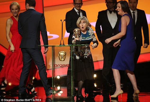 Celebrating: The cast of the Mini Series winner - In The Flesh (Ann Harrison-Baxter, Dominic Mitchell and Jonny Campbell) collect their award