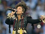 MILAN, ITALY - MAY 28: Alicia Keys performs ahead of the UEFA Champions League Final between Real Madrid and Club Atletico de Madrid at Stadio Giuseppe Meazza on May 28, 2016 in Milan, Italy. (Photo by Chris Brunskill Ltd/Getty Images)