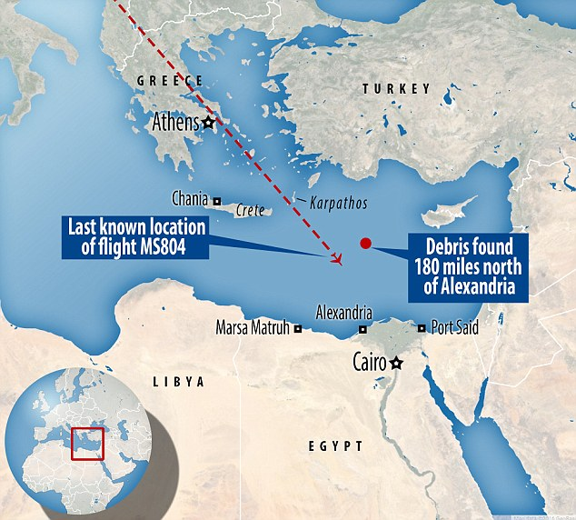 Hunt for clues: The Egyptian army reported finding wreckage and personal belongings from the missing jet around 180 miles north of Alexandria. The discovery came a day after other debris found in another area near the African coast turned out not to come the plane