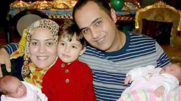 One boy and two girls, all aged under six, were left inconsolable when their parentsAhmed el-Ashry and his wife Reham Mosad (pictured left and right) were killed in theEgyptAir MS804 disaster